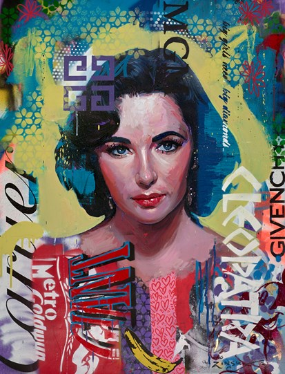 Liz Taylor by Zinsky - Original Painting on Stretched Canvas